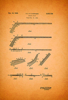 Hockey Art Drawing - Antique Hockey Stick Patent 1935 by Mountain Dreams