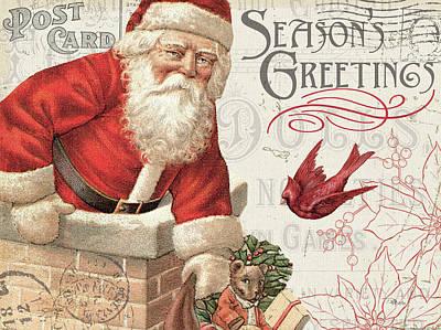 Santa Claus Painting - Antique Holiday I by Pela Studio
