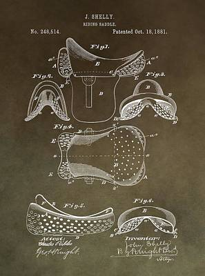Old West Mixed Media - Antique Horse Saddle Patent by Dan Sproul