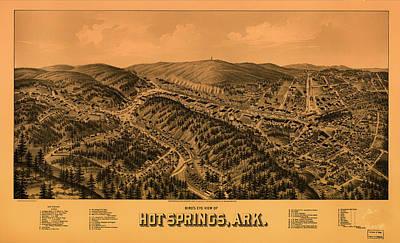 Arkansas Drawing - Antique Illustrative Map Of Hot Springs Arkansas 1888 by Mountain Dreams