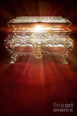 Photograph - Antique Jewelry Box With Magical Light From Within by Sandra Cunningham