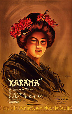 1904 Drawing - Antique Karama Movie Poster by Mountain Dreams