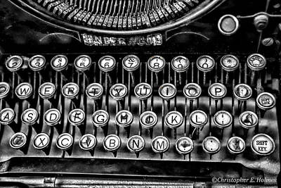 Typewriter Keys Photograph - Antique Keyboard - Bw by Christopher Holmes