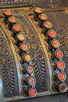 Cash Register Photograph - Antique Keys On Cash Register, Harrison by Adam Jones