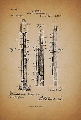 Pole Drawing - Antique Lamp Post Attachment Patent by Mountain Dreams