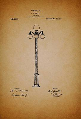 Lamp Post Drawing - Antique Lamp Post Patent by Mountain Dreams