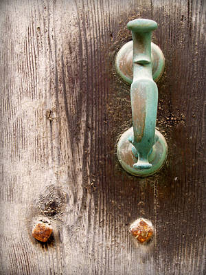 Photograph - Antique Minorcan Latch In Green On A Vintage Rustic Door by Pedro Cardona