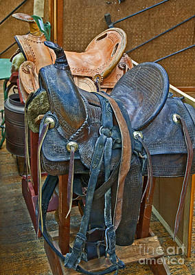 Photograph - Antique Leather Horse Saddles by Valerie Garner