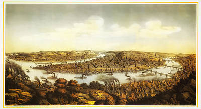 Beautiful Vistas Drawing - Antique Lithograph Of Pittsburgh 1874 by Mountain Dreams