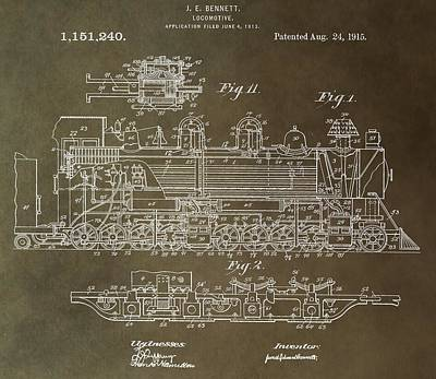 Old Caboose Digital Art - Antique Locomotive Patent by Dan Sproul