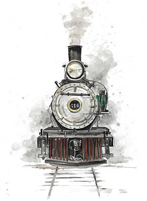 Watercolor Trains Painting - Antique Locomotive by Patricia Pinto