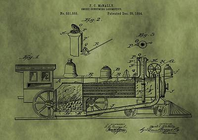 Passengers Mixed Media - Antique Locomotive Train Patent by Dan Sproul