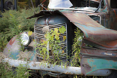 Photograph - Antique Mack Truck by Charles Harden