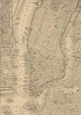 Antique Manhattan Map Art Print by Dan Sproul
