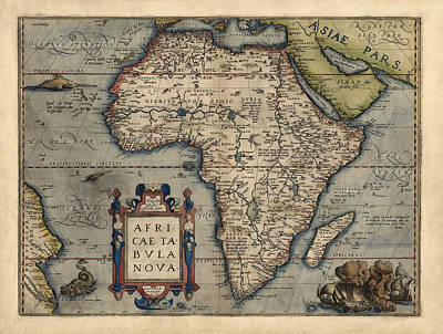 Map Of Africa Drawing - Antique Map Of Africa By Abraham Ortelius - 1570 by Blue Monocle