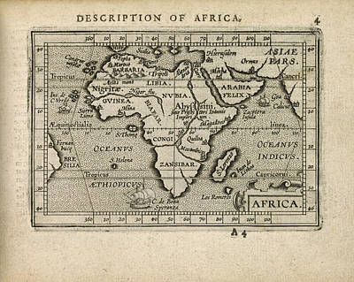 Map Of Africa Drawing - Antique Map Of Africa By Abraham Ortelius - 1603 by Blue Monocle
