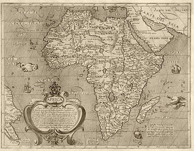 Map Of Africa Drawing - Antique Map Of Africa By Arnoldo Di Arnoldi - Circa 1600 by Blue Monocle