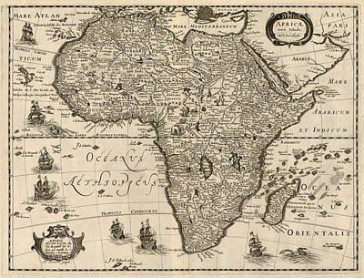 Africa Drawing - Antique Map Of Africa By Jodocus Hondius - Circa 1640 by Blue Monocle