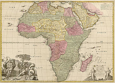 Map Of Africa Drawing - Antique Map Of Africa By John Senex - Circa 1725 by Blue Monocle