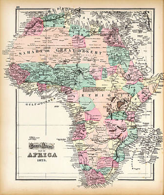 Old Map Painting - Antique Map Of Africa by Celestial Images