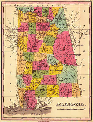 Alabama Drawing - Antique Map Of Alabama 1833 by Mountain Dreams