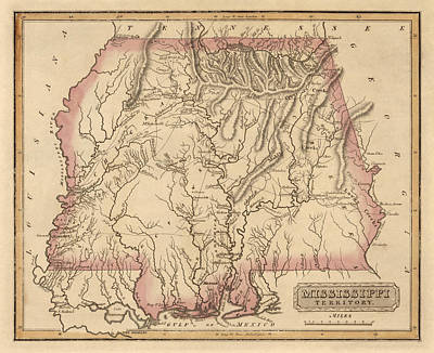 Mississippi Map Drawing - Antique Map Of Alabama And Mississippi By Fielding Lucas - Circa 1817 by Blue Monocle