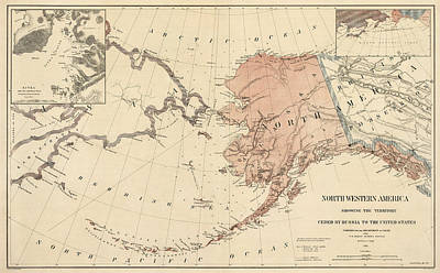 Coast Drawing - Antique Map Of Alaska - 1867 by Blue Monocle
