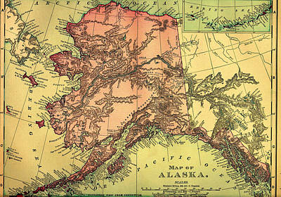 1890s Drawing - Antique Map Of Alaska 1895 by Mountain Dreams