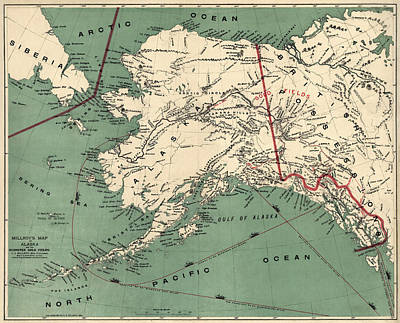 Vintage Map Drawing - Antique Map Of Alaska By J. J. Millroy - 1897 by Blue Monocle