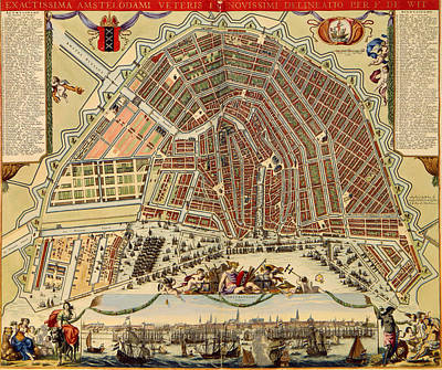 Netherlands Drawing - Antique Map Of Amsterdam 1688 by Mountain Dreams