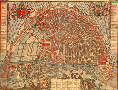 Netherlands Drawing - Antique Map Of Amsterdam 1692 by Mountain Dreams