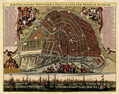 Netherlands Map Drawing - Antique Map Of Amsterdam By Pieter Schenk - Circa 1702 by Blue Monocle