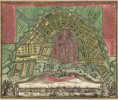 Netherlands Map Drawing - Antique Map Of Amsterdam Netherlands - 1727 by Blue Monocle