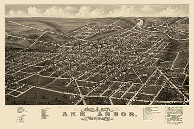 Michigan Drawing - Antique Map Of Ann Arbor Michigan By A. Ruger - 1880 by Blue Monocle