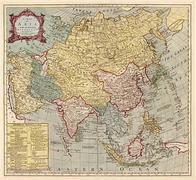 Drawing - Antique Map Of Asia By Jean Palairet - Circa 1780 by Blue Monocle