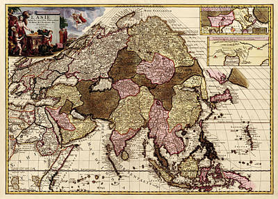 Drawing - Antique Map Of Asia By Pieter Van Der Aa - Circa 1680 by Blue Monocle