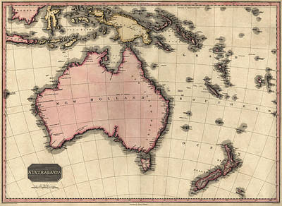 Antique Map Of Australia And The Pacific Islands By John Pinkerton - 1818 Art Print by Blue Monocle