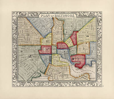 Drawing - Antique Map Of Baltimore Maryland By Samuel Augustus Mitchell - 1863 by Blue Monocle