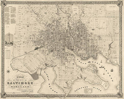 Antique Map Drawing - Antique Map Of Baltimore Maryland By Sidney And Neff - 1851 by Blue Monocle