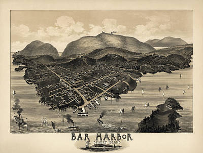 Island Drawing - Antique Map Of Bar Harbor Maine By G. W. Morris - 1886 by Blue Monocle