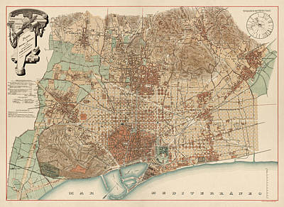 Barcelona Drawing - Antique Map Of Barcelona Spain By D. J. M. Serra - 1891 by Blue Monocle