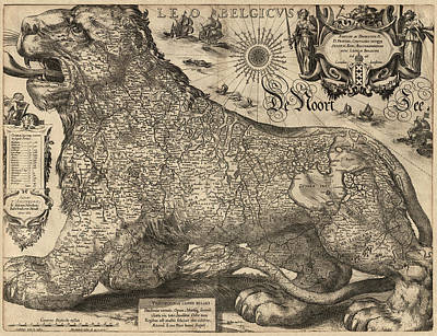 Netherlands Map Drawing - Antique Map Of Belgium And The Netherlands By Jodocus Hondius - 1611 by Blue Monocle