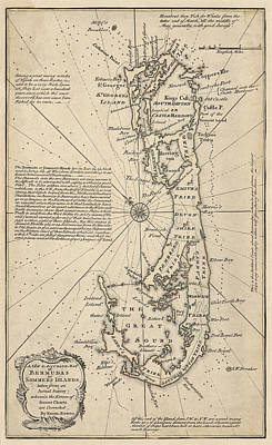 Bermudas Drawing - Antique Map Of Bermuda By Emanuel Bowen - 1750 by Blue Monocle