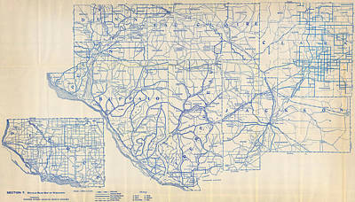 Antique Map Painting - Antique Map Of  Bicycle Map Of Wisconsin 1897 by Celestial Images