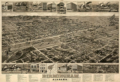 Alabama Drawing - Antique Map Of Birmingham Alabama By H. Wellge - Circa 1885 by Blue Monocle