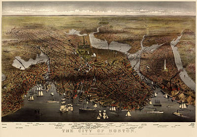 Currier And Ives Drawing - Antique Map Of Boston By Currier And Ives - 1873 by Blue Monocle