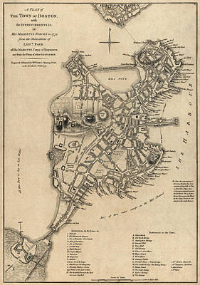 Antique Map Of Boston By William Faden - 1777 Art Print by Blue Monocle