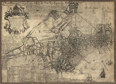 Americas Map Drawing - Antique Map Of Boston By William Price - 1769 by Blue Monocle