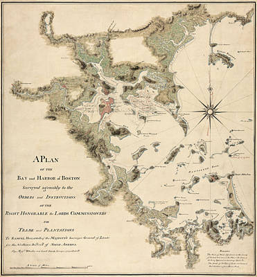 Wheeler Drawing - Antique Map Of Boston Harbor By Thomas Wheeler - Circa 1775 by Blue Monocle
