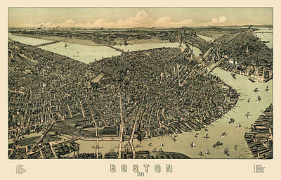 Boston Drawing - Antique Map Of Boston Massachusetts By A.e. Downs - Circa 1899 by Blue Monocle